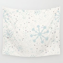 Cute Seamless Winter Pattern with subtle snowflakes Wall Tapestry
