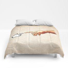 Funny 8bit Nerd & Geek Humor (Creation of Adam Parody) Comforters