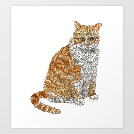 Tabby Bunny Kitty Art Print