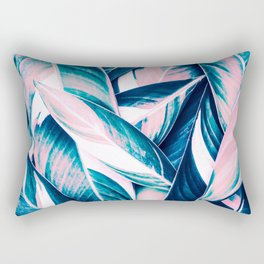 Botanical leaf pink and blue Rectangular Pillow