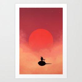 DBZ - Goku and the magic cloud Art Print