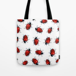 Ladybug Pattern, Original Art, Ladybirds on White Tote Bag