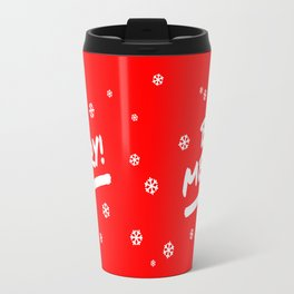 Bright Red Be Merry Christmas Snowflakes Travel Mug