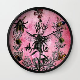 Vintage Bees with Toadflax Botanical illustration collage Wall Clock