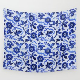 Azulejos blue floral pattern Wall Tapestry