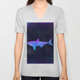 SHARK IN SPACE // Animal Graphic Art // Watercolor Canvas Painting // Modern Minimal Cute Unisex V-Neck