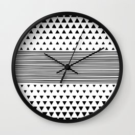 Stripes and Triangles Geometric Modern Black and White Wall Clock