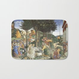 Trials of Moses Painting by Botticelli - Sistine Chapel Bath Mat