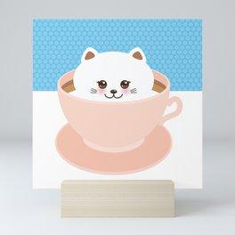 Cute Kawai cat in pink cup, coffee art Mini Art Print