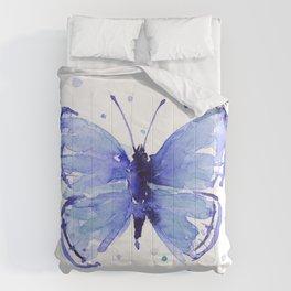Dark Blue Butterfly Watercolor Comforters