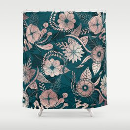 Artsy Modern Rose Gold Emerald Green Flowers Shower Curtain