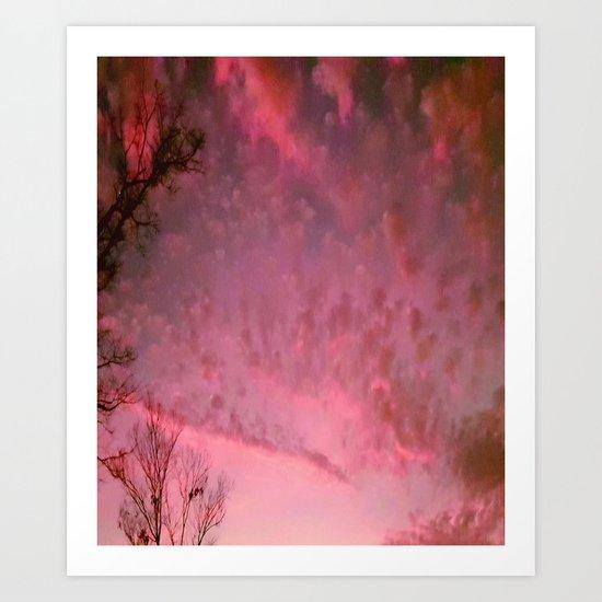 Red Night sky Art Print