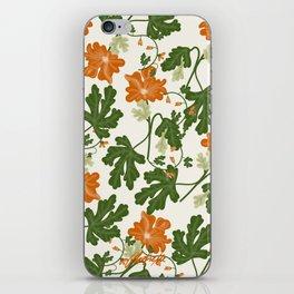 Orange Vintage Flower Pattern iPhone Skin