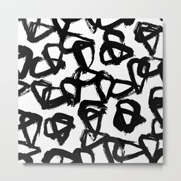 Painted Geometric Black and White Metal Print