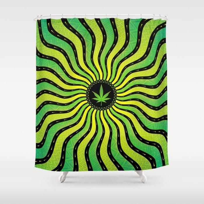 Marijuana energy | Sacred geometry mandala Shower Curtain