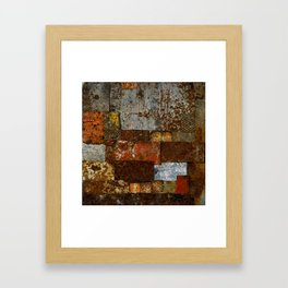 Metallic Textures Mosaic Collage by Annalisa Ramondino Framed Art Print