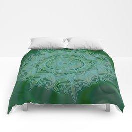 Green Swirl Mandala II Comforters