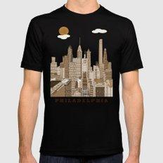 Philadelphia skyline vintage Black Mens Fitted Tee LARGE