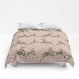 Royal Tenenbaums Zebra Wallpaper - Dusty Pink Comforters