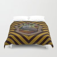 hufflepuff Duvet Covers featuring Hogwarts House Crest - Hufflepuff by Teo Hoble