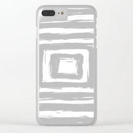 Minimal Light Gray Brush Stroke Square Rectangle Pattern Clear iPhone Case