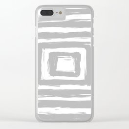 Minimal Light Gray Brush Stroke Square Rectangle Pattern Clear iPhone Case