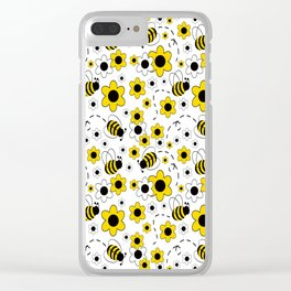Honey Bumble Bee Yellow Floral Pattern Clear iPhone Case