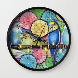 Parakeet Theater Wall Clock