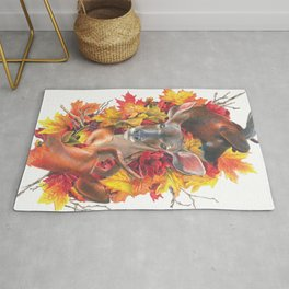 Deer and Fall Leaves Collage Rug