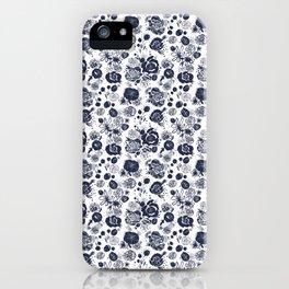 Summer Garden Indigo II Floral Pattern iPhone Case
