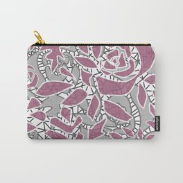 Gray pink lace Carry-All Pouch