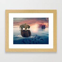 Tiger Drifting by GEN Z Framed Art Print