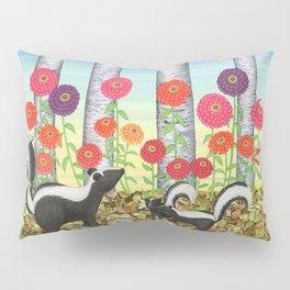 striped skunks, zinnias, birches, & crows Pillow Sham