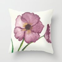 burgundy Throw Pillows featuring Burgundy Poppies by trabie