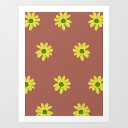 Colorful retro home decor and textile design flower pattern Art Print