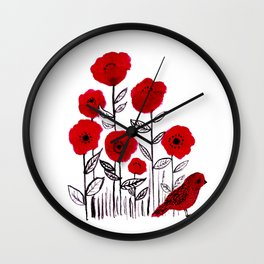 Tall poppies and red bird Wall Clock