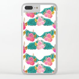 Wings and Roses Turquoise White Clear iPhone Case