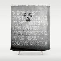 monroe Shower Curtains featuring Monroe by CATHERINE DONOHUE