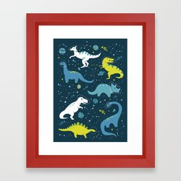 Space Dinosaurs in Bright Green and Blue Framed Art Print