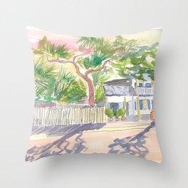 Key West Strolling Around Blue Heaven Thomas St Throw Pillow