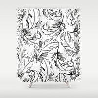 feathers Shower Curtains featuring Feathers by Caitlin Workman