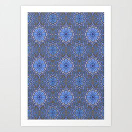 Folk Flowers, Bohemian Floral Arabesque Pattern Cerulean Art Print
