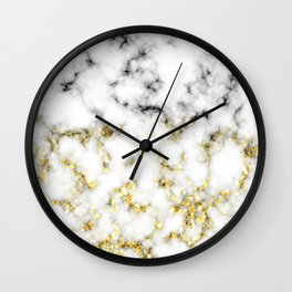 Black and white marble gold sparkle flakes Wall Clock