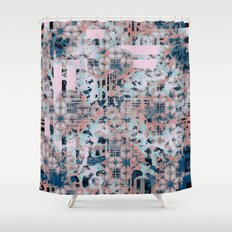 Pink and Blue Modern Geometric and Animal Print Pattern Shower Curtain