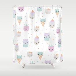 Kawaii breeze summer kitty cupcake cats and snow one ice cream kittens Shower Curtain