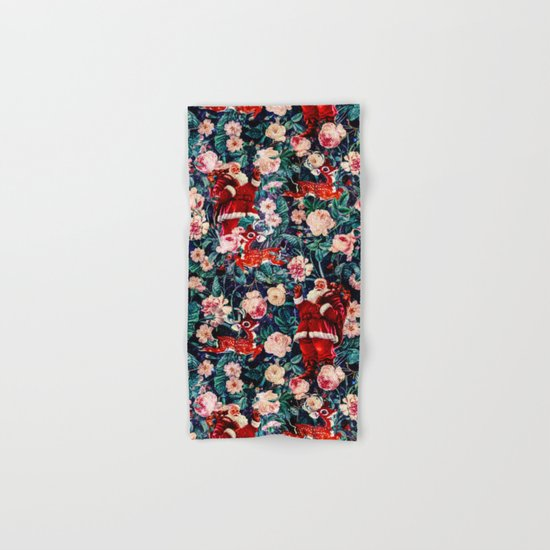 Santa Claus and Floral Pattern Hand & Bath Towel