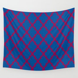 Moroccan Quatrefoil Pattern: Red & Blue Wall Tapestry