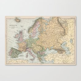 Vintage Map of Europe (1892) Canvas Print