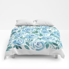 Pale blue roses . Watercolor . Comforters