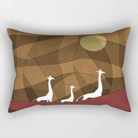 Beautiful warm giraffe family design Rectangular Pillow